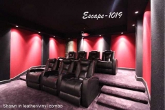 Home theater with Escape-1019 motorized recliners