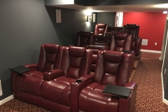 Gray and Red home theater