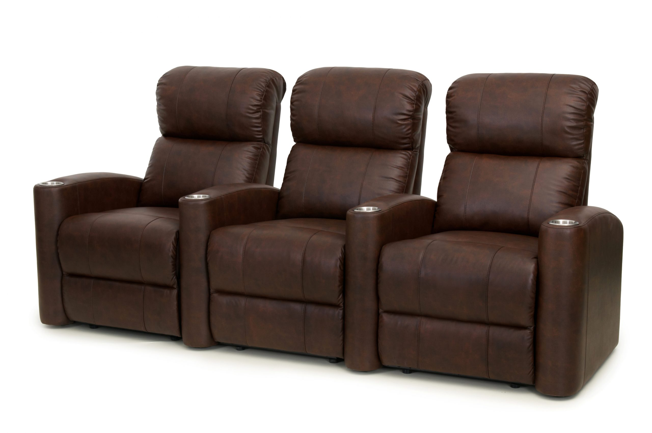 Straight set of 3 Fusion Collection Encore-1010 manual recliners in chocolate brown leather gel