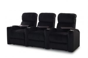 Straight set of 3 Fusion Collection Encore-1010 recliners in black microfiber